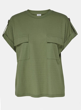 Zelené tričko s kapsami Jacqueline de Yong Lulu