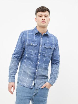 Modrá kockovaná rifľová slim fit košeľa Jack & Jones Fade