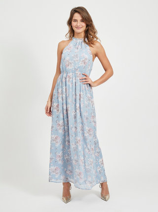 Modré květované maxišaty VILA Smilla