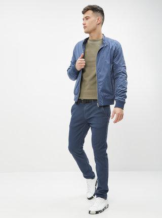 Tmavomodré vzorované chino nohavice Shine Original