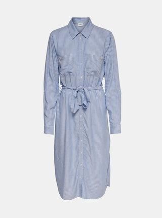 Světle modré pruhované košilové midišaty Jacqueline de Yong Tom
