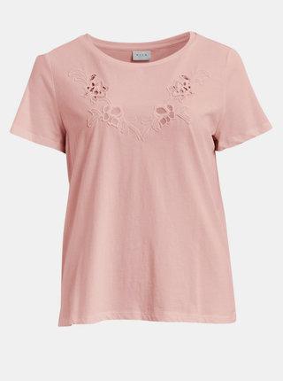Růžové tričko VILA Drano
