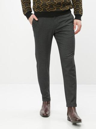Tmavě šedé kostkované zkrácené kalhoty Lindbergh