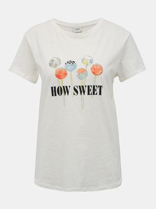 Bílé tričko s potiskem Jacqueline de Yong Lollipop