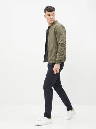 Tmavomodré pruhované slim fit nohavice Jack & Jones Marco