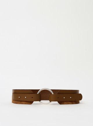 Hnědý kožený pásek se semišovými detaily Pieces Noa