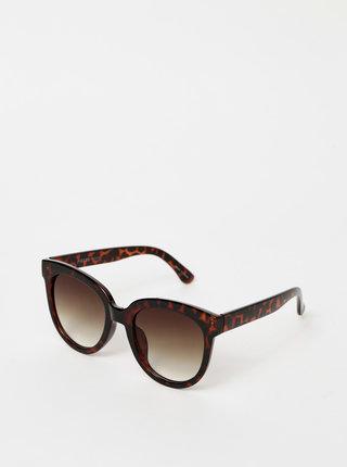 Tmavě hnědé vzorované sluneční brýle Pieces Namilla