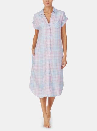 Růžovo-modrá kostkovaná noční košile Lauren Ralph Lauren