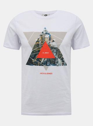 Bílé tričko s potiskem Jack & Jones Ifter