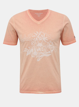 Ružové tričko s potlačou Jack & Jones Abre