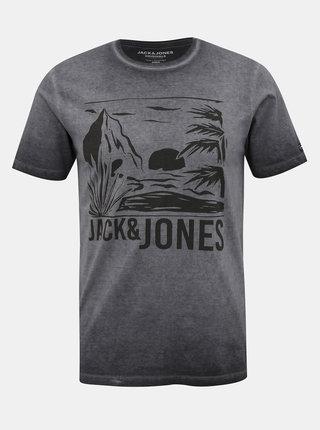 Šedé tričko s potiskem Jack & Jones Abre