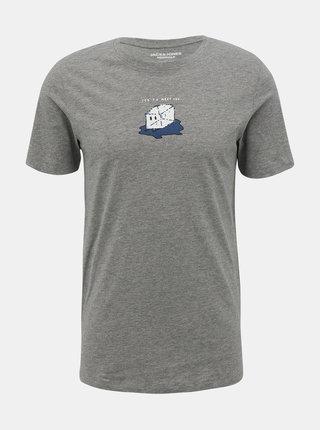 Šedé tričko s potiskem Jack & Jones Press