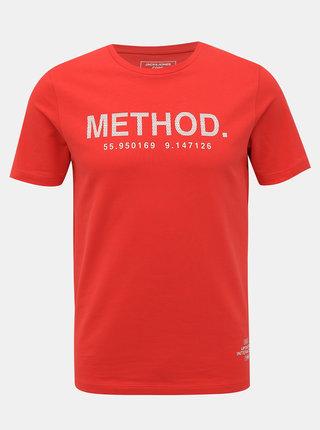 Červené tričko s potiskem Jack & Jones Urbany