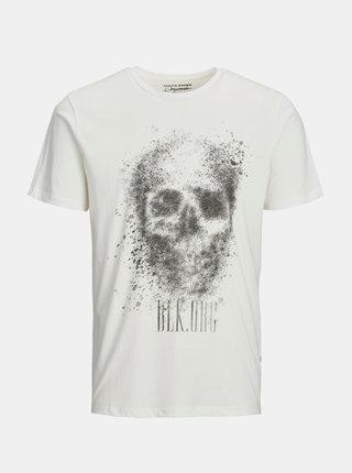 Bílé tričko s potiskem Jack & Jones Solex