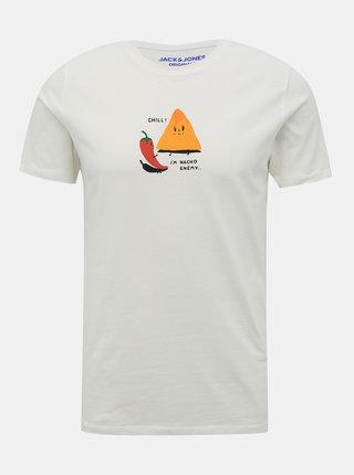 Bílé tričko s potiskem Jack & Jones Press
