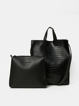 Čierna kabelka s krokodýlím vzorom a odnímateľným púzdrom Claudia Canova Retta