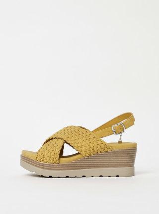 Hořčicové sandálky na klínku Xti