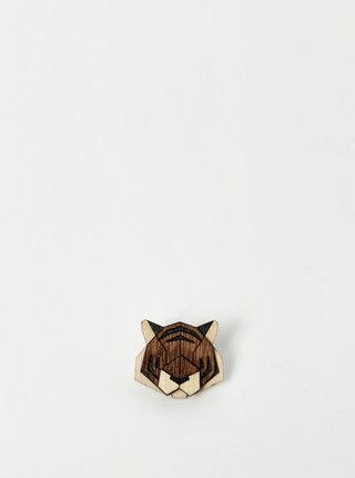 Dřevěná brož ve tvaru tygra BeWooden