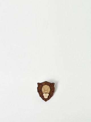 Dřevěná brož ve tvaru lva BeWooden