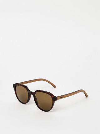 Tmavě hnědé vzorované sluneční brýle BeWooden Francis