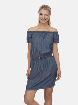Modré šaty s odhalenými ramenami Ragwear Everly Denim