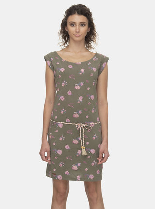 Kaki kvetované šaty Ragwear Tamy Flowers