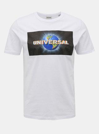 Biele tričko s potlačou Jack & Jones Universe