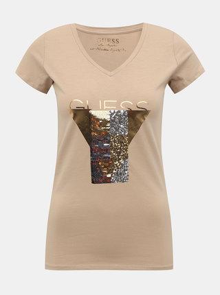 Béžové dámské tričko s potiskem Guess