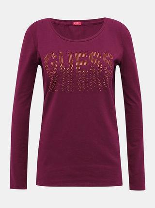Vínové dámské tričko Guess