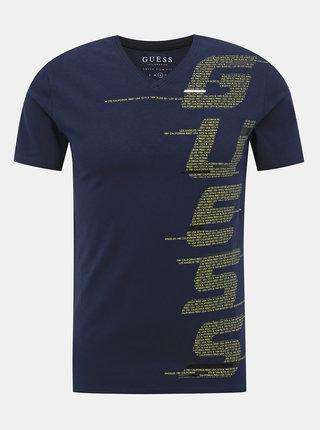 Tmavě modré pánské tričko s potiskem Guess