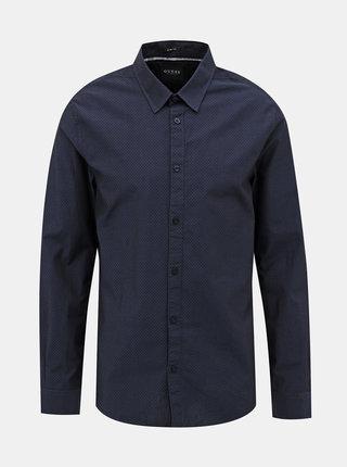 Tmavě modrá pánská puntíkovaná slim fit košile Guess
