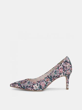 Ružovo-krémové kvetované lodičky Tamaris
