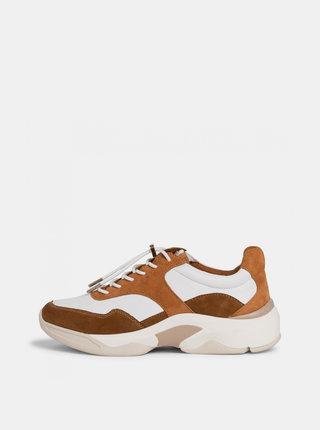 Béžovo-hnědé kožené tenisky na platformě Tamaris