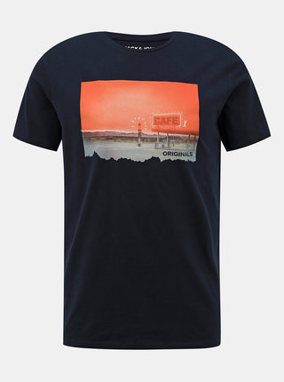 Tmavomodré tričko s potlačou Jack & Jones Fading