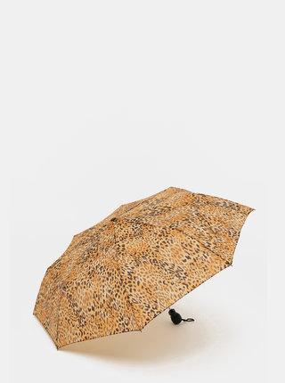 Hnědý vystřelovací deštník s leopardím vzorem Rainy Days
