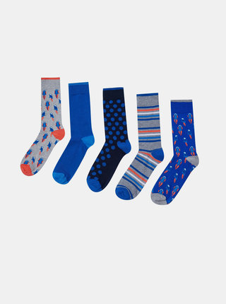 Sada piatich modrých vzorovaných ponožiek Burton Menswear London