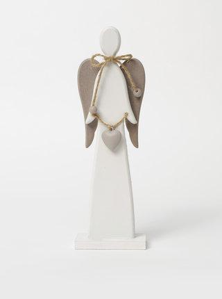 Bílá dekorace ve tvaru anděla Dakls