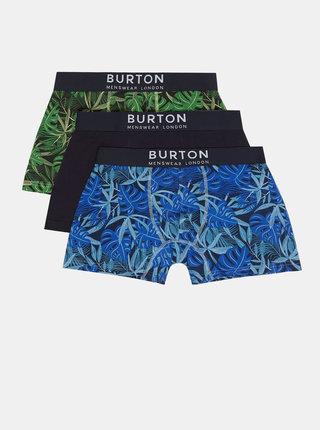 Sada troch vzorovaných boxeriek v modrej a zelenej farbe Burton Menswear London