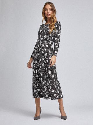 Čierne kvetované midišaty Dorothy Perkins Petite