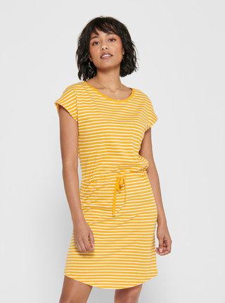 Žluté pruhované basic šaty ONLY May