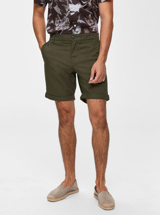 Pantaloni scurti verde inchis chino Selected Homme Paris