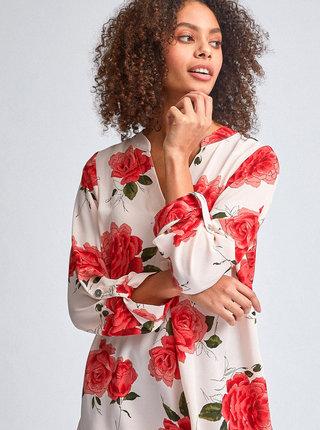 Červeno-krémová květovaná halenka Dorothy Perkins
