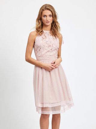 Svetloružové krajkové šaty VILA Zinna