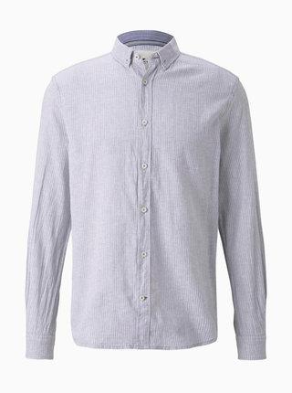 Svetlošedá pánska ľanová košeľa Tom Tailor