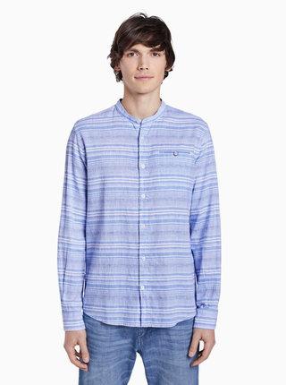 Modrá pánska pruhovaná ľanová košeľa Tom Tailor