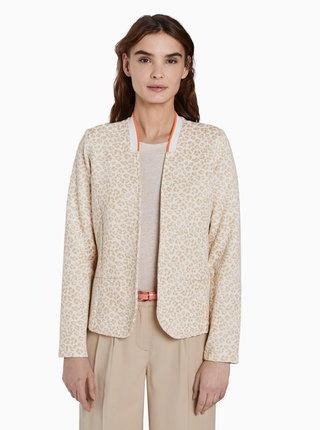 Béžové dámské vzorované sako Tom Tailor