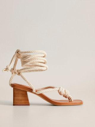 Krémové sandálky Mango Cord