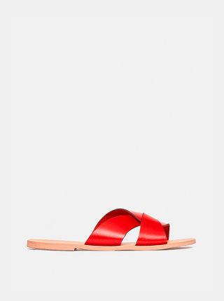 Červené kožené šľapky Dorothy Perkins