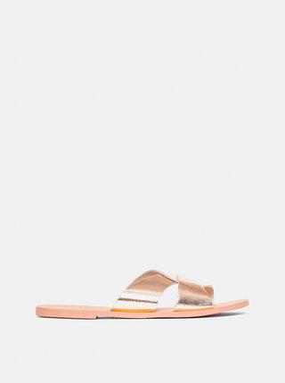 Kožené pantofle ve zlaté barvě Dorothy Perkins