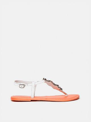 Biele kožené sandále Dorothy Perkins